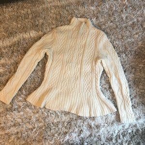 NWOT Ralph Lauren Cable Knit Peplum Sweater